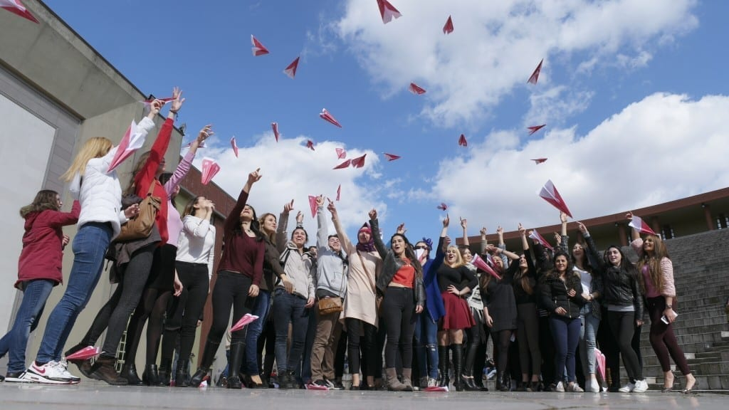 Pink Paper Plane Challenge at MALTEPE University in Turkey