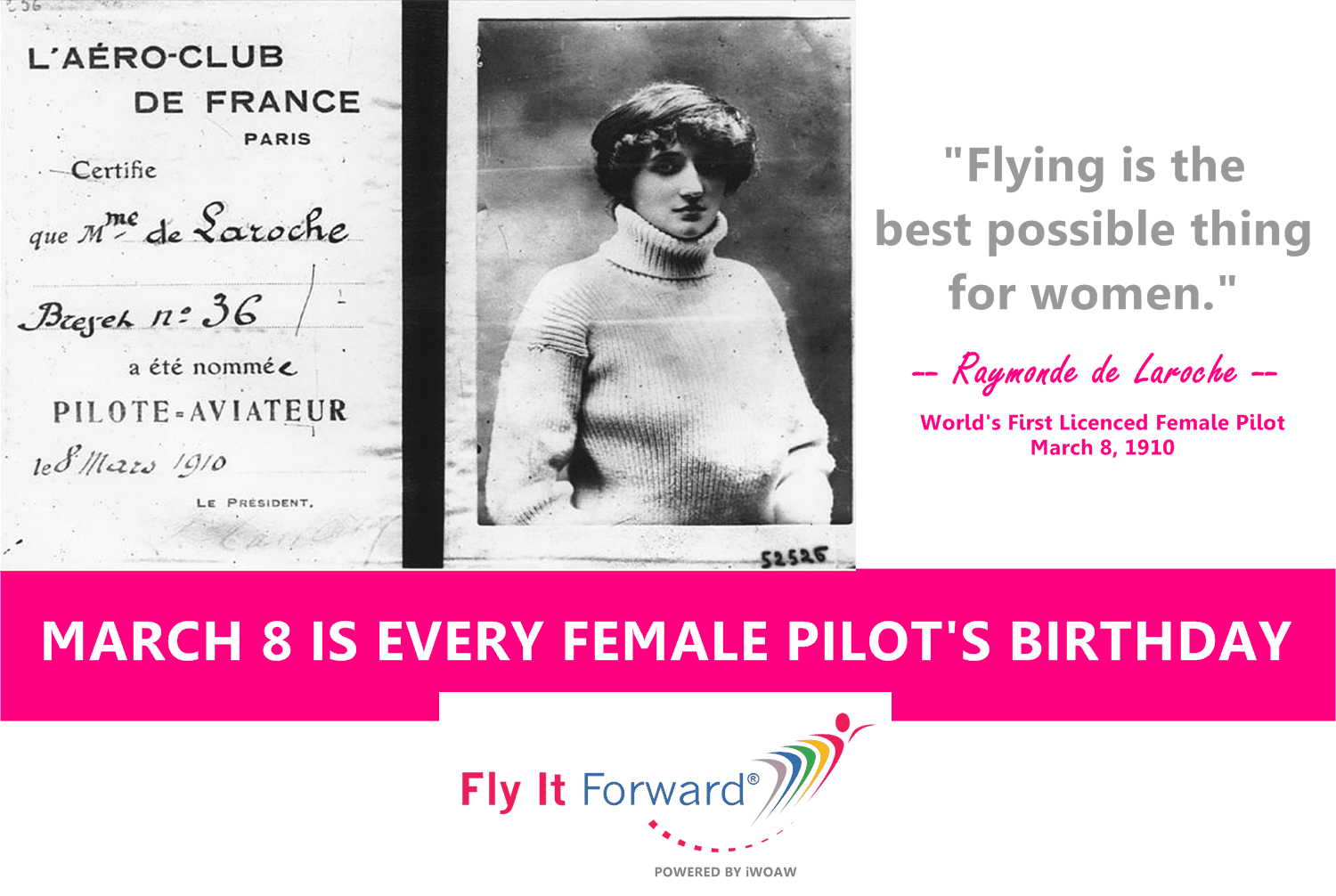World First Female Pilot Raymonde Laroche quote